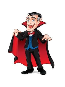 Vampiro está se preparando para assustar as pessoas com um sorriso e expandindo sua capa