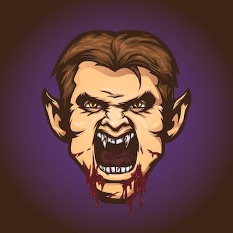 Vampiro malvado em estilo cartoon