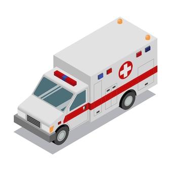 Van de ambulância isométrica.