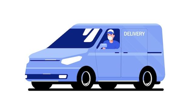 Van de carga com motorista em uma máscara médica isolada. ilustração em vetor estilo simples.
