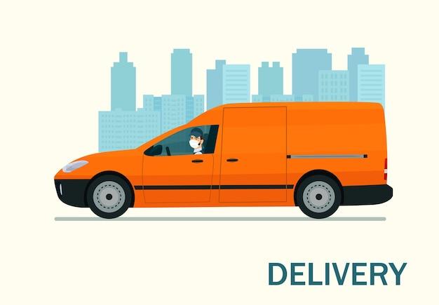 Van de carga com um motorista em uma máscara médica no contexto de uma paisagem urbana abstrata. ilustração do estilo simples.