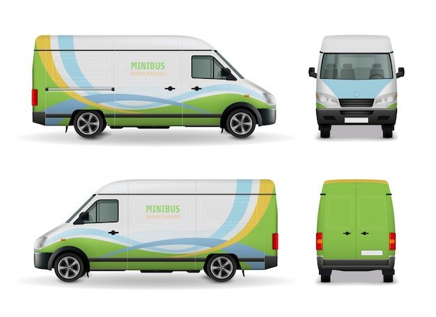Van de carga realista publicidade modelo design vista lateral de maquete, frente e traseira em ilustração vetorial de fundo branco
