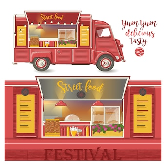 Van de comida de rua. entrega de fast food. ilustração vetorial, isolada no fundo branco