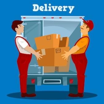 Van de entrega. entregador com caixa. conceito de entrega. ilustração vetorial