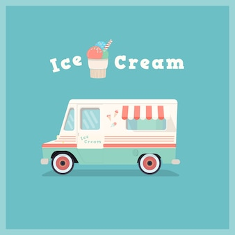 Van de sorvete retrô colorido.