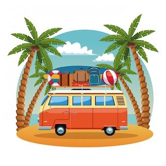 Van de surf vintage em design gráfico ilustração vetorial de praia