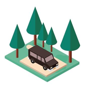 Van estacionamento e ícone isométrica de cena de árvores