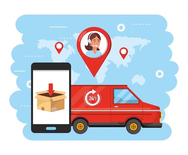 Van transporte com agente de call center de mulher e smartphone