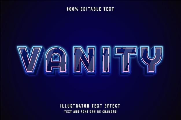 Vanity, efeito de texto editável em 3d, gradação azul e efeito rosa neon