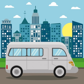 Vans transport city sun