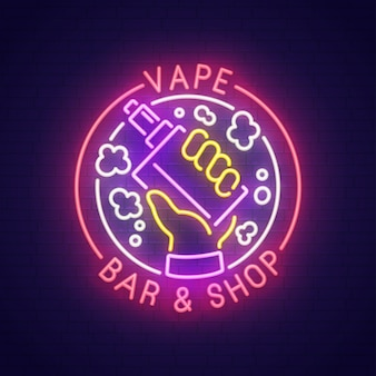 Vape bar sinal de néon