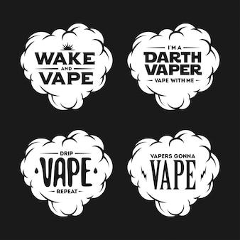 Vape relacionados ao conjunto de desenhos vintage de t-shirt. citações sobre vaping
