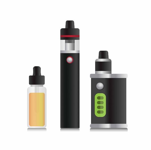 Vape, vape stick e refil líquido, ilustração realista de coleção de dispositivos de cigarro eletrônico editável
