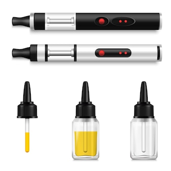 Vaping conjunto realista de cigarro eletrônico e líquido