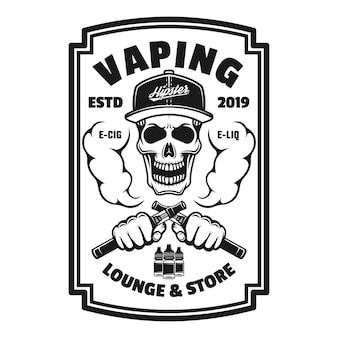 Vaping shop vector monocromático quadrado emblema, distintivo, etiqueta ou logotipo com caveira e vapor de cigarro eletrônico isolado no fundo branco