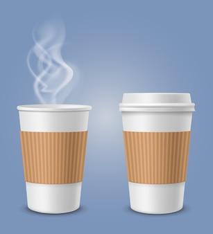Vapor realista em xícara de café