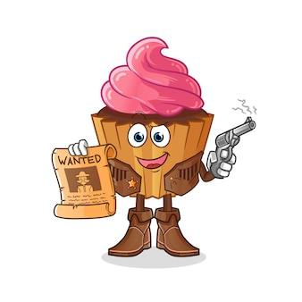 Vaqueiro de cupcake segurando arma e pôster de procurado