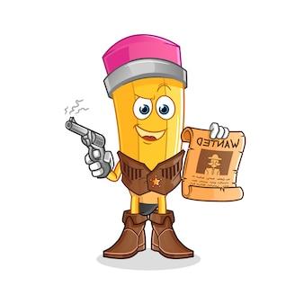 Vaqueiro de lápis segurando arma e ilustração de cartaz de procurado. personagem