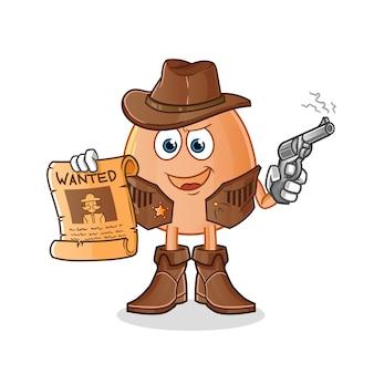 Vaqueiro de ovo segurando uma arma e ilustração de cartaz de procurado. personagem