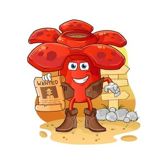 Vaqueiro de rafflesia com papel procurado. mascote mascote dos desenhos animados