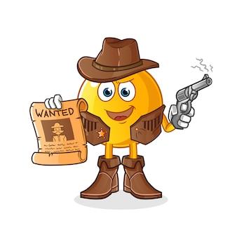 Vaqueiro emoticon segurando uma arma e ilustração de cartaz de procurado