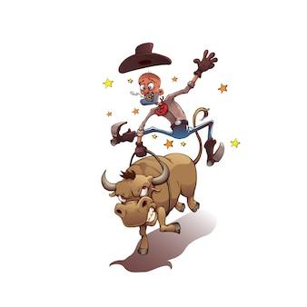 Vaqueiro montando um touro
