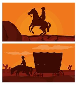 Vaqueiro na silhueta do cavalo
