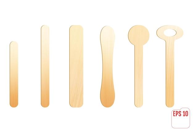 Vara de madeira para sorvete ou depressor de língua medicinal. palito de sorvete.