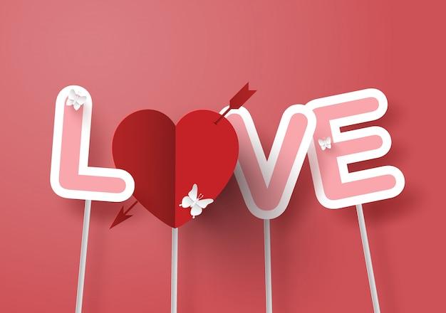 Vara de texto de amor com fundo rosa