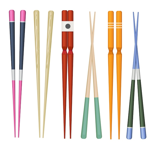 Vara do japão. utensílios tradicionais coloridos para comer coleção de pauzinho de madeira de sushi de comida de japão.