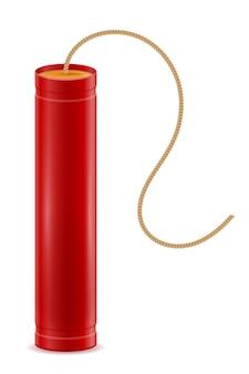 Vara vermelha de dinamite com ilustração de fusível bickford isolada no branco