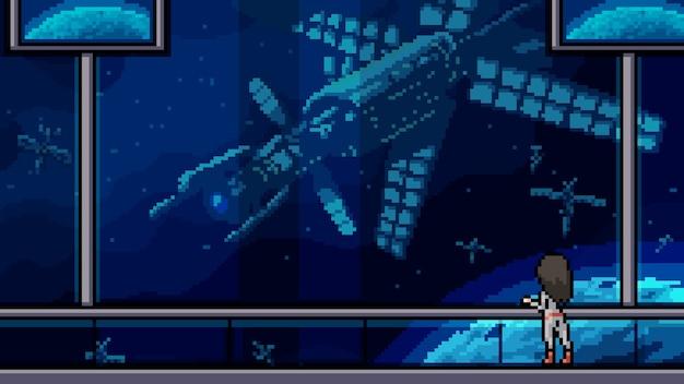 Varanda da nave espacial com cena de pixel art