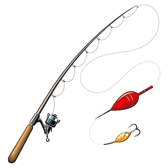 Varas de pescar. pesca e passatempo, equipamento esportivo, anzol, ferramenta de objeto