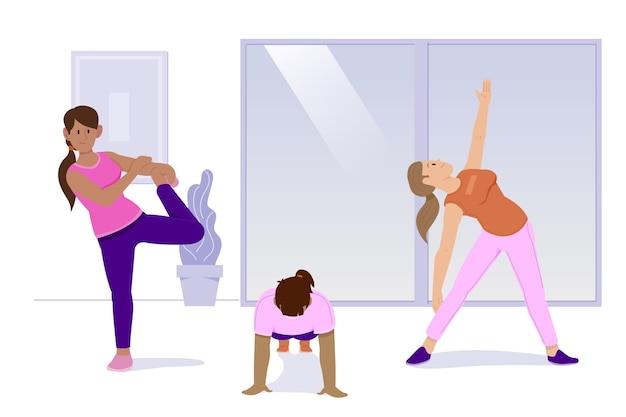 Vária aptidão física move-se dentro de casa esporte
