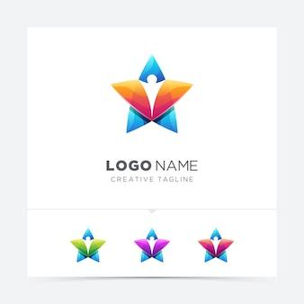Variação de logotipo colorido estrela pessoas