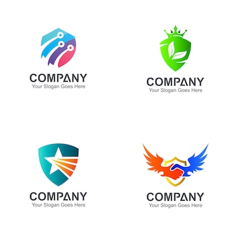 Variação de modelos de design de logotipo de escudo