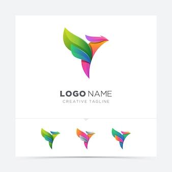 Variação do logotipo abstrato pássaro colorido