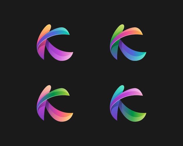 Variações coloridas abstratas do logotipo da letra k
