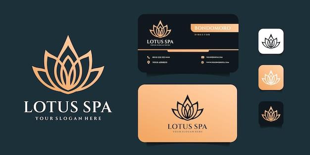 Variações de design de logotipo de luxo monograma lótus spa com modelo de cartão.