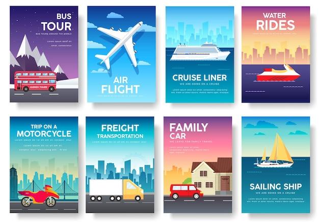 Variações de infográficos de viagens de lazer e transporte