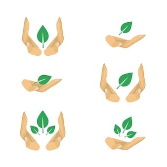 Variantes de vetor de símbolos de proteção ecologia para cartaz