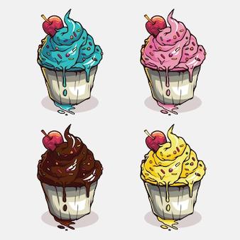 Variantes de xícara de sorvete de sabor com ilustração de cerejas