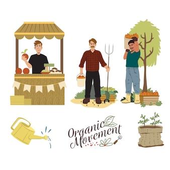 Várias atividades do conceito orgânico