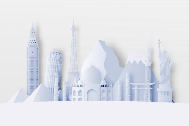 Várias atrações de viagem em estilo de arte em papel
