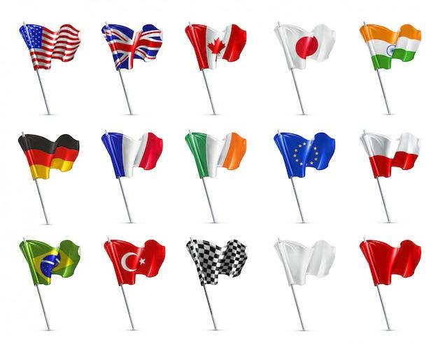 Várias bandeiras, conjunto 3d