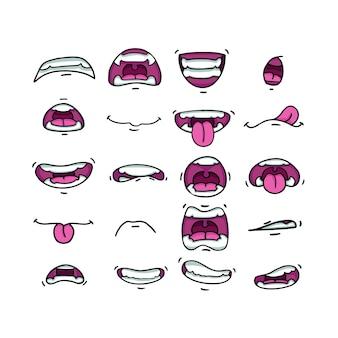 Várias bocas em diferentes posições. com dentes, língua, sorriso, raiva.