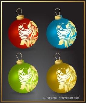 Várias bolas coloridas de natal