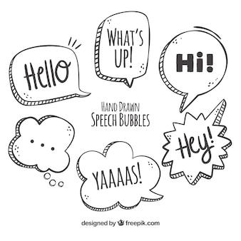 Várias bolhas de fala desenhadas a mão