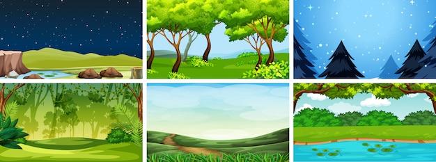 Várias cenas da natureza em dia e noite
