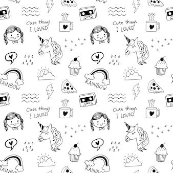 Várias coisas fofas doodle fundo sem emenda